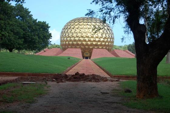 Auroville gold meditation dome