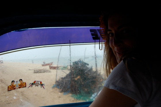 we got the front of the truck on the ride to Danushkodi